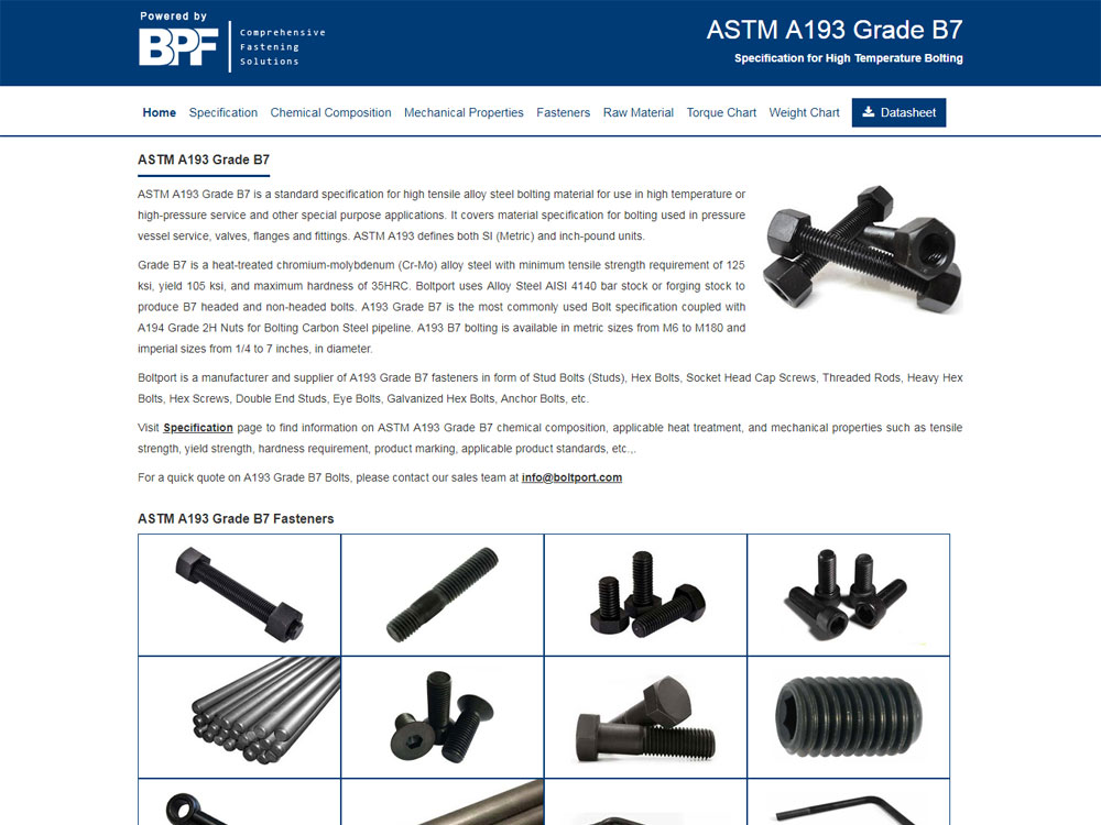 Bolting Material Chart - Boltport Fasteners LLP